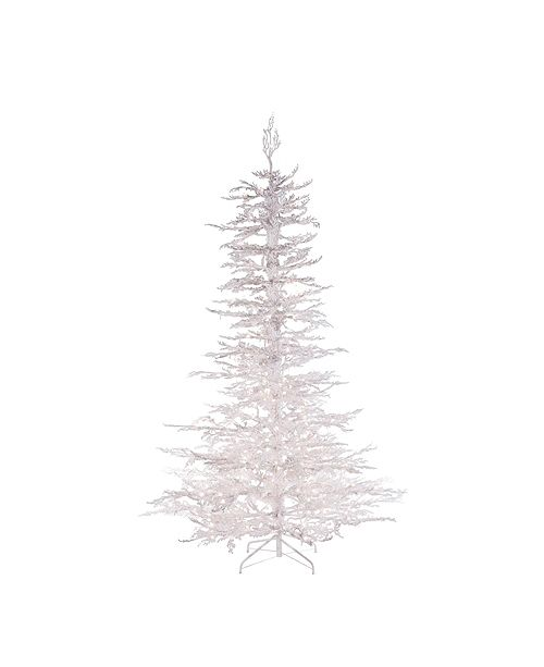 Sterling 7.5ft. Pre-Lit Flocked White Twig Tree with 300 UL Clear Lights