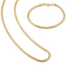 "2-Pc. Set Box Link 22"" Chain Necklace and Bracelet in 14k Gold-Plated Sterling Silver, Created for Macy's"