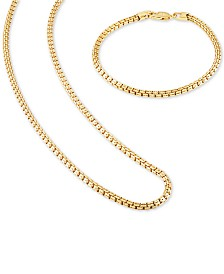 "Esquire Men's Jewelry 2-Pc. Set Box Link 22"" Chain Necklace and Bracelet in 14k Gold-Plated Sterling Silver, Created for Macy's"
