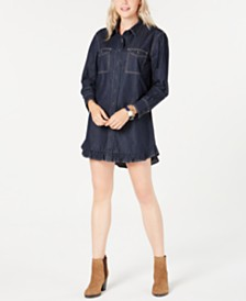Tommy Hilfiger Cotton Ruffled Denim Shirtdress, Created for Macy's