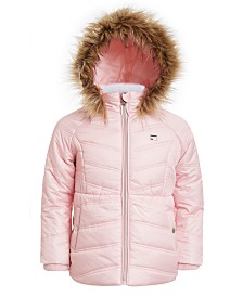 Tommy Hilfiger Little Girls Fur-Trim Hooded Chevron Puffer Jacket