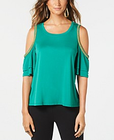 Chain-Trim Cold-Shoulder Top, Created for Macy's