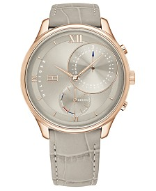 Tommy Hilfiger Women's Gray Leather Strap Watch 38mm