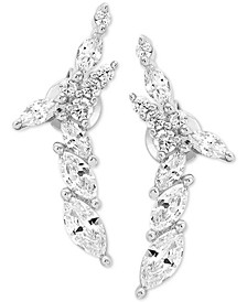 Swarovski Zirconia Curved X Drop Earrings in Sterling Silver