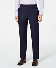 Men's Flat Front Classic-Fit UltraFlex Stretch Navy Solid Suit Separate Pants