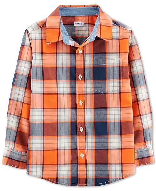 Carter's Little & Big Boys Collared Plaid Cotton Shirt