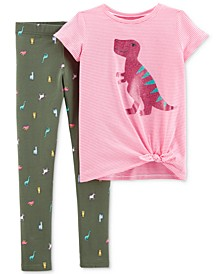 Little & Big Girls 2-Pc. Dinosaur-Print Tie-Front Top & Printed Leggings Set