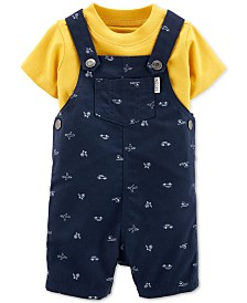 Carter's Baby Boys 2-Pc. Cotton T-Shirt & Vehicle-Print Shortalls Set