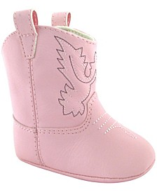 Baby Girl Western Boot with Embroidery and Piping