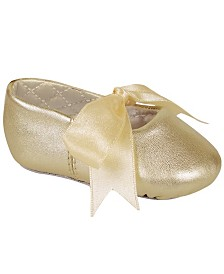 Baby Deer Baby Girl Lambskin Ballet with Ribbon Tie