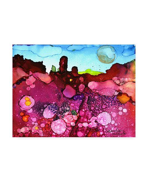 "Trademark Global Pat Saunders-White Fuschia Strata Canvas Art - 19.5"" x 26"""