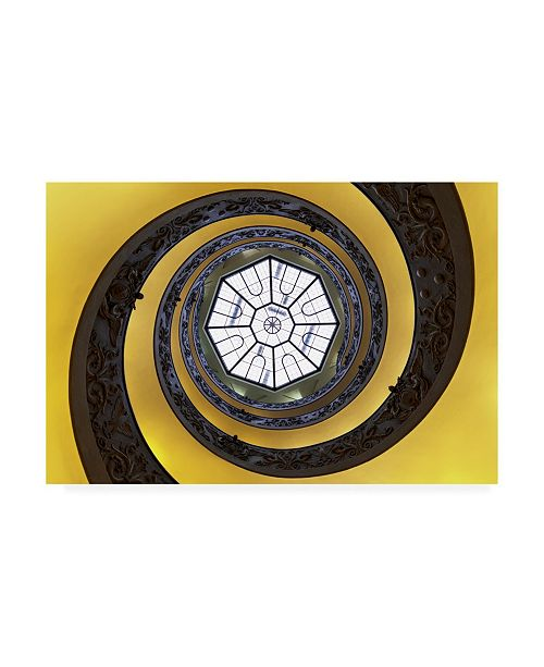 "Trademark Global Philippe Hugonnard Dolce Vita Rome the Vatican Spiral Staircase Gold Canvas Art - 19.5"" x 26"""