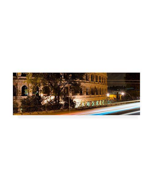 "Trademark Global Philippe Hugonnard Dolce Vita Rome 2 Colosseum Orange Night Canvas Art - 27"" x 33.5"""