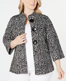 JM Collection Plus Size Printed Three-Button Jacket, Created For Macy's