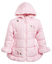 Little Girls Hooded Embroidered Skater Coat With Faux-Fur Trim