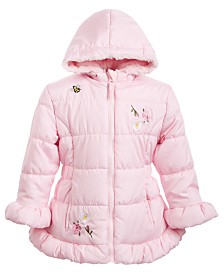 S Rothschild & CO Little Girls Hooded Embroidered Skater Coat With Faux-Fur Trim