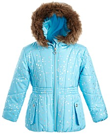 Toddler Girls Hooded Foil-Print Jacket With Faux-Fur Trim