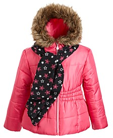 Toddler Girls Hooded Jacket With Faux-Fur Trim & Scarf