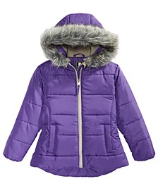 Little Girls Hooded Quilted Jacket With Faux-Fur Trim