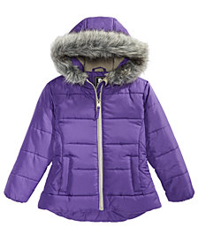 S Rothschild & CO Little Girls Hooded Quilted Jacket With Faux-Fur Trim