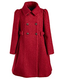 Big Girls Sparkle Faux-Wool Bows Coat