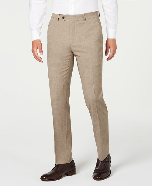 Tommy Hilfiger Men's Modern-Fit THFlex Stretch Tan Sharkskin Suit Separate Pants
