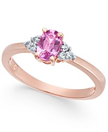 Pink Sapphire (5/8 ct. t.w.) & Diamond Accent Ring in 14k Rose Gold