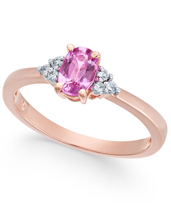 Macy's Pink Sapphire (5/8 ct. t.w.) & Diamond Accent Ring in 14k Rose Gold