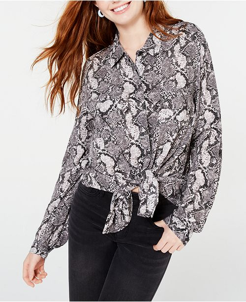 Hippie Rose Juniors' Printed Utility Shirt