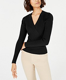 Puffed-Shoulder Surplice Sweater