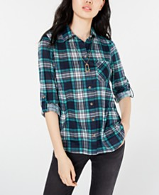 Polly & Esther Juniors' Plaid Roll-Tab Shirt