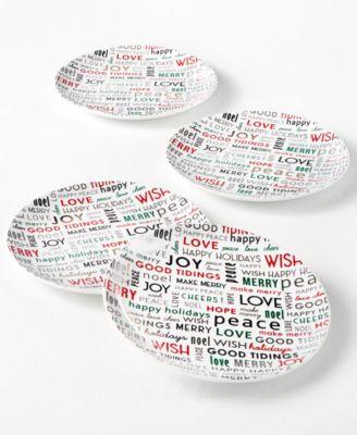 Holiday Sayings Sentiments Salad Plates, Set of 4