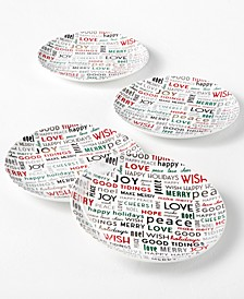 Holiday Sayings Sentiments Salad Plates, Set of 4