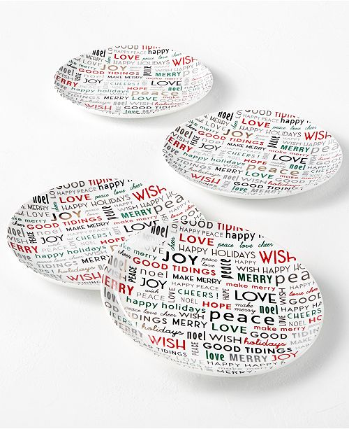 The Cellar Holiday Sayings Sentiments Salad Plates, Set of 4