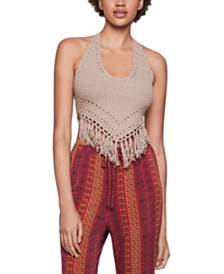 BCBGeneration Cotton Fringe-Trim Halter Top