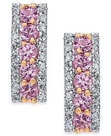 Pink Sapphire (9/10 ct. t.w.) & Diamond (3/8 ct. t.w.) Drop Earrings in 14k Rose Gold