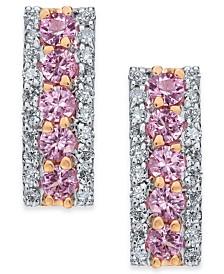 Pink Sapphire (9/10 ct. t.w.) & Diamond (3/8 ct. t.w.) Drop Earrings in 14k Rose Gold