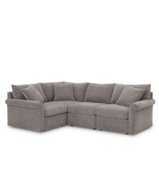 "Wedport 4-Pc. Fabric ""L"" Shape Sectional Sofa with Square Corner Piece, Created for Macy's"