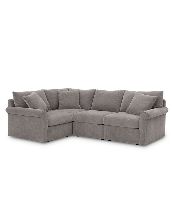 """Furniture Wedport 4-Pc. Fabric """"L"""" Shape Sectional Sofa with Square Corner Piece, Created for Macy's"""