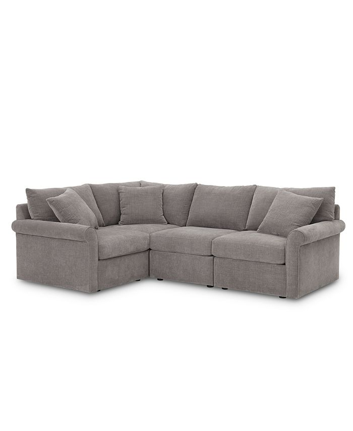 """Furniture - Wedport 4-Pc. Fabric """"L"""" Shape Sectional Sofa with Square Corner Piece"""