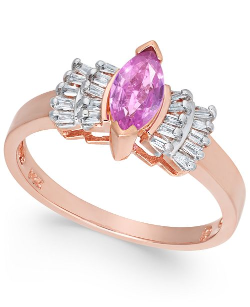 Macy's Pink Sapphire (7/8 ct. t.w.) & Diamond (1/5 ct. t.w.) Ring in 14k Rose Gold
