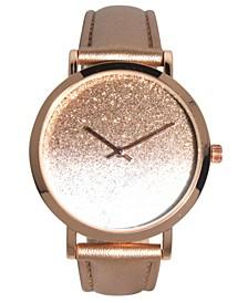 Women's Metallic Glitter Ombre Leather Strap Watch 40mm