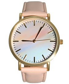 Women's Pastel Rainbow Leather Strap Watch 40mm