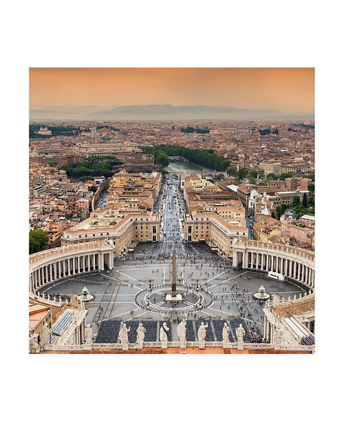 "Trademark Global Philippe Hugonnard Dolce Vita Rome 3 View of Rome from Dome of St. Peters Basilica II Canvas Art - 19.5"" x 26"""