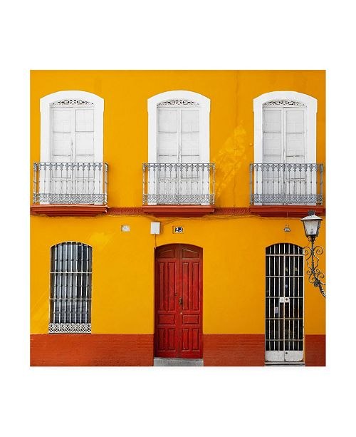 """Trademark Global Philippe Hugonnard Made in Spain 3 Orange Facade of Traditional Spanish Building Canvas Art - 36.5"""" x 48"""""""