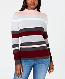 Striped Mock-Neck Cotton Sweater, Created for Macy's