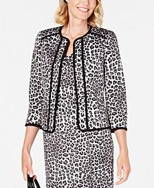 Leopard-Print Open-Front Jacket