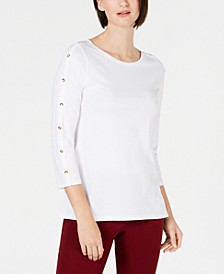Supima® Cotton Embellished Top, Created for Macy's