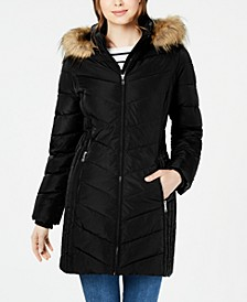 Chevron Faux-Fur Trim Hooded Puffer Coat, Created For Macy's