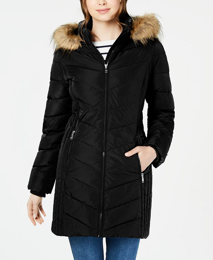Tommy Hilfiger - Chevron Faux-Fur Trim Hooded Puffer Coat
